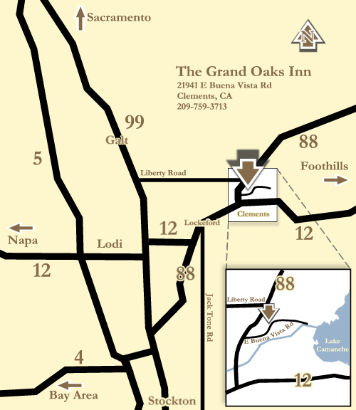 Map to the Grand Oaks Inn